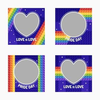 Коллекция рамок в социальных сетях на день гордости
