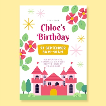 Плоский шаблон приглашения на день рождения принцессы