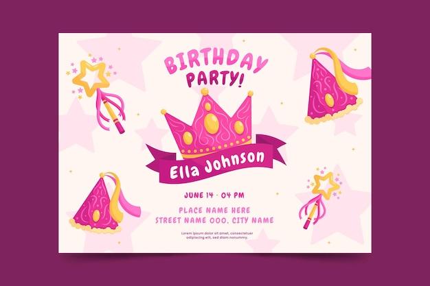 Плоское приглашение на день рождения принцессы