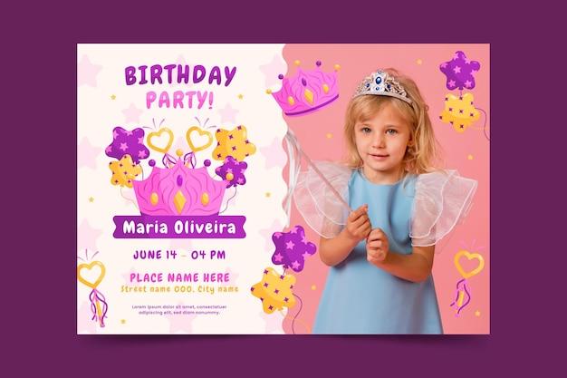 Flat princess birthday invitation