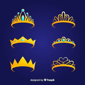 Flat princess golden tiara collection