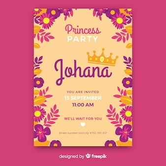 Flat princess party invitation template