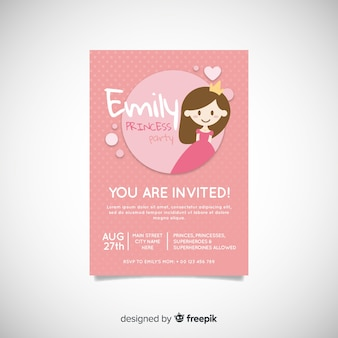 Flat princess party invitation template