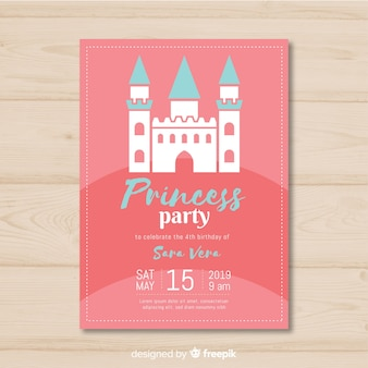 Flat princess party invitation