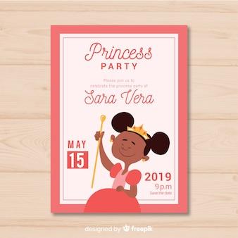 Плоский принцесса приглашение на вечеринку