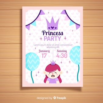 Flat princess party invitation