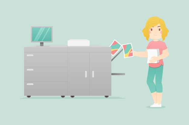 Flat printing industry illustration