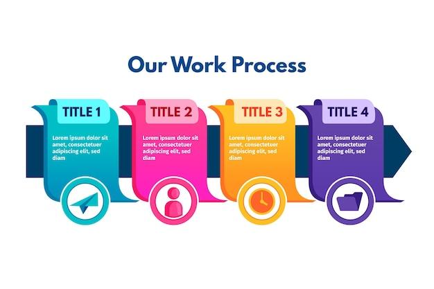 フラットプロセスインフォグラフィックコンセプト