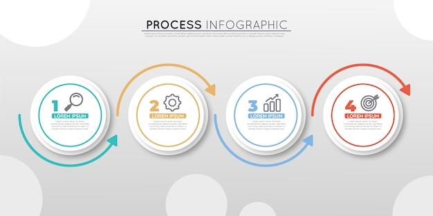Infografica processo piatto flat