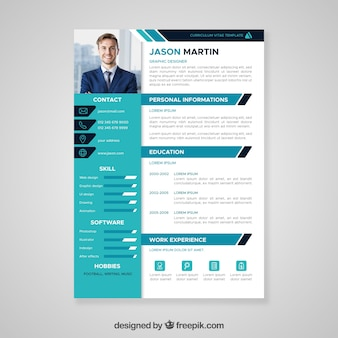 flat professional curriculum template - Free Design Resume Templates
