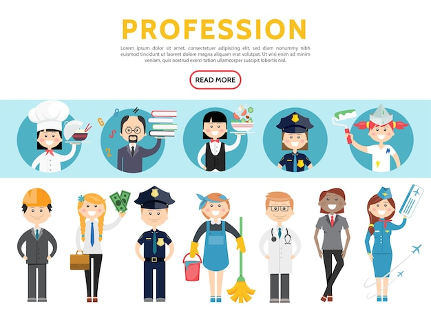 Flat professions set with engineer accountant police officers maid doctor stylist stewardess
