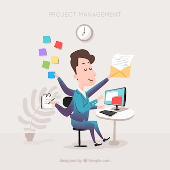 Flat project management concept with businessman