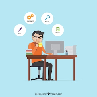 Flat project management concept with man at desk