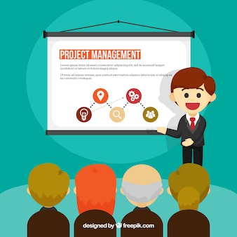 Flat project management concept with presentation