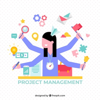 Flat project management concept with woman