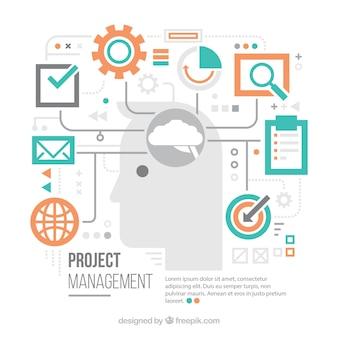 Flat project management concept