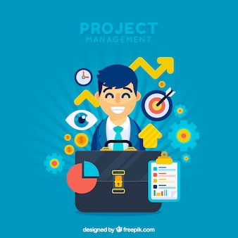 Flat project management concept