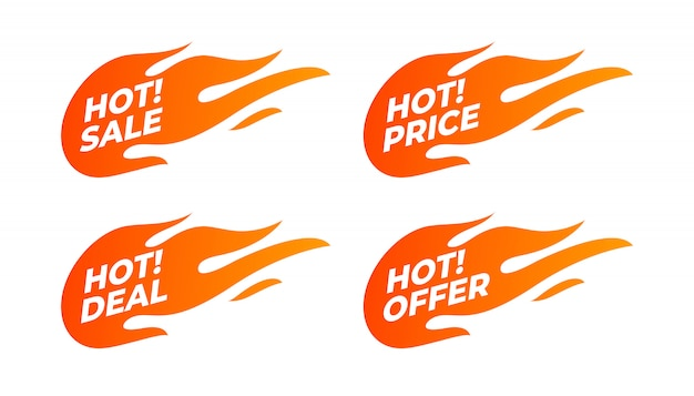 Flat promotion fire banner, price tag, hot sale, offer, price.