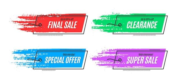 フラットプロモーションオリジナルバナー、販売背景、値札。ベクトルイラスト