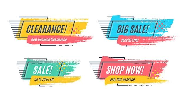 Flat promotion original banner, sales background, price tag.