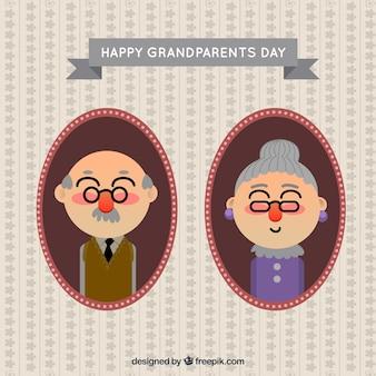 조부모의 평평한 초상화