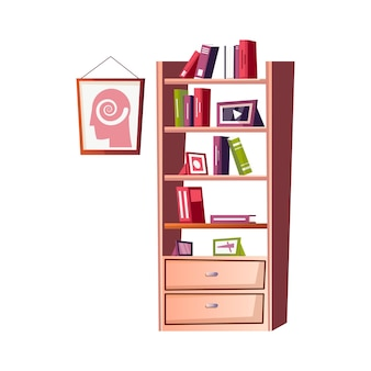 Flat psychologist office interior illustration with bookcase and poster on wall