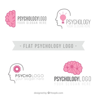Flat psychology logos with pink details