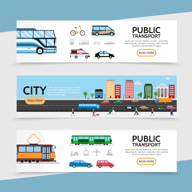 Flat public transport horizontal banners