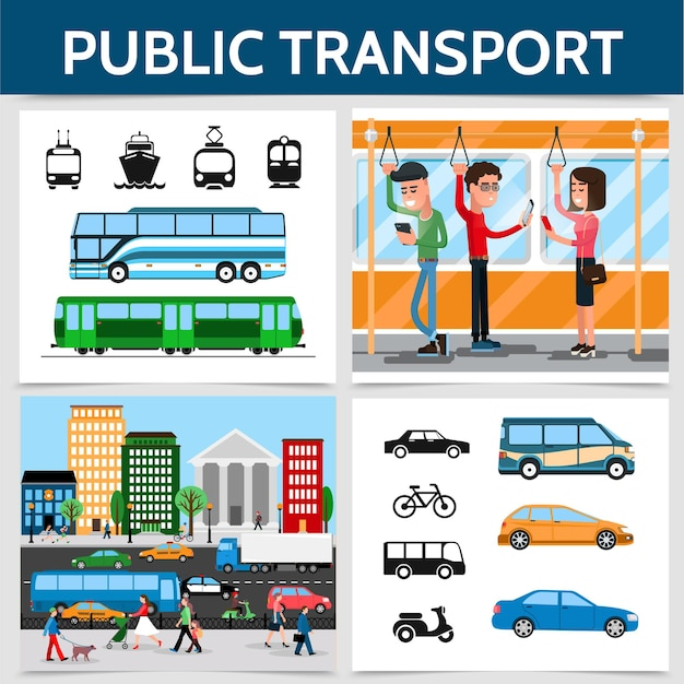 Flat public transport square concept with cars bicycle bus trolleybus scooter cruise ship tram train passengers