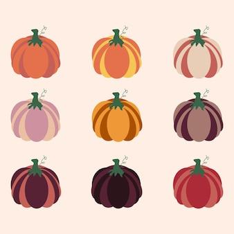 フラットカボチャセット分離ベクトルイラスト。グラフィックデザイン要素。感謝祭の日の漫画の食品コレクション。秋のお祝い。
