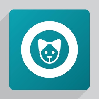 Flat puppy icon, white on green background