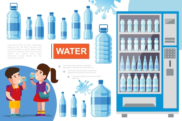 Flat pure water concept with boy and girl drinking water liquid splashes and showcase refrigerator for cooling drinks