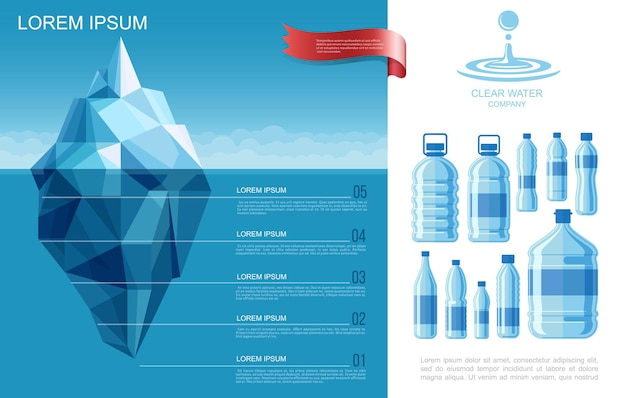 Flat pure water infographic template with iceberg in ocean and plastic bottles of clear aqua