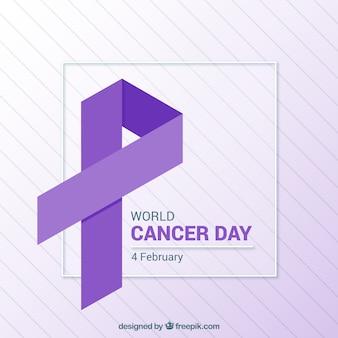 平らな紫色の世界の癌の日の背景