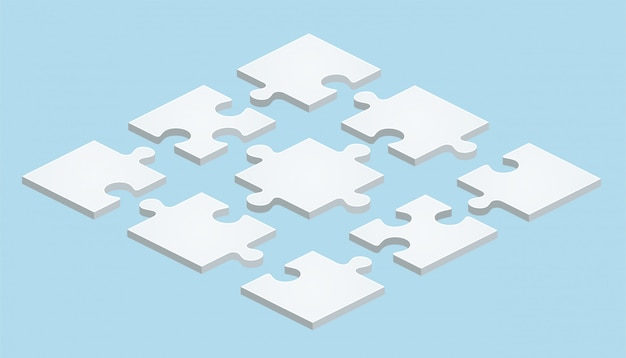 青の背景に等尺性デザインのフラットパズル
