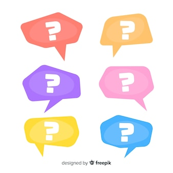 Flat question mark in speech bubble set