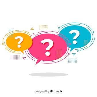 Flat question mark in speech bubble set