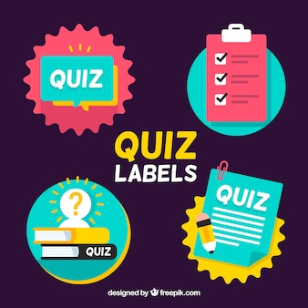 Flat quiz labels set