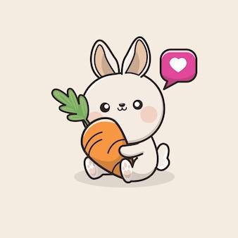 Плоский кролик с морковью