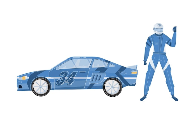 Flat racing car and character of racer in helmet and blue outfit