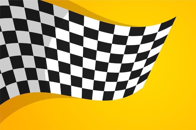 Плоский гоночный фон с клетчатым флагом
