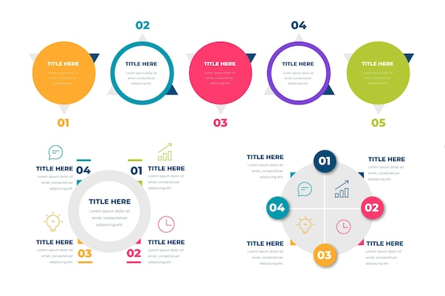 평면 방사형 infographic 컬렉션