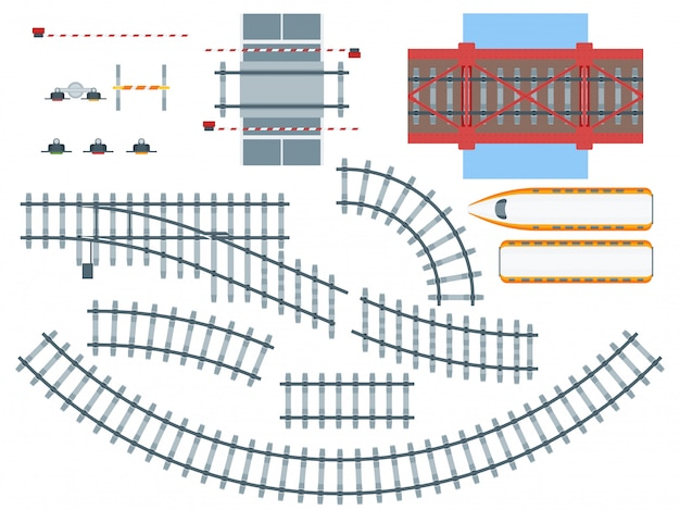 Flat railway elements set