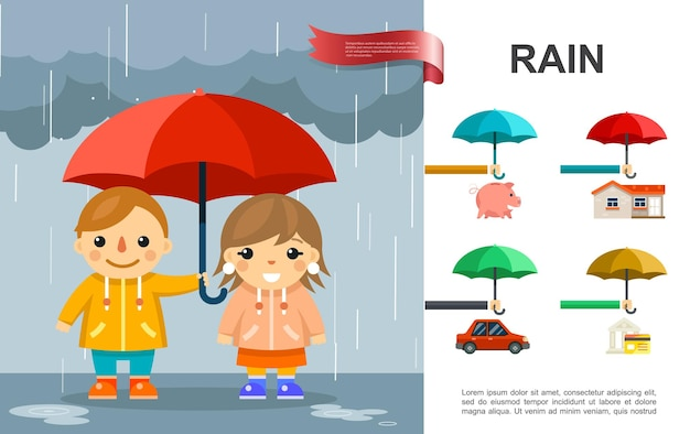 Flat rain bright  with kids with umbrella standing under the rain and property elements illustration