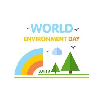 Плоский фон всемирный день окружающей среды