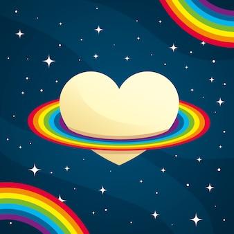 ベージュのハートの周りの平らな虹