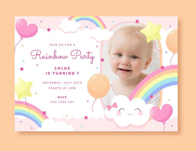 写真付きの平らな虹の誕生日の招待状のテンプレート