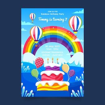 Modello di invito compleanno piatto arcobaleno