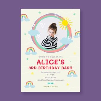 Flat rainbow birthday invitation template