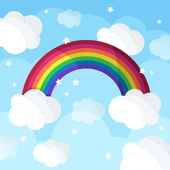 Flat rainbow and clouds concept